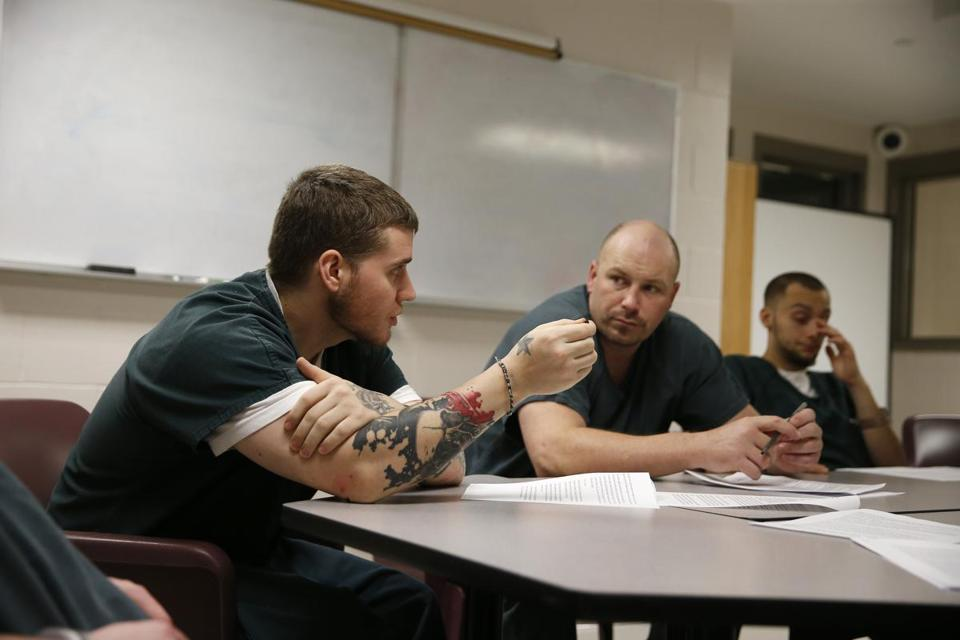 Inmates participated in a group session at the Franklin County House of Correction in Greenfield.